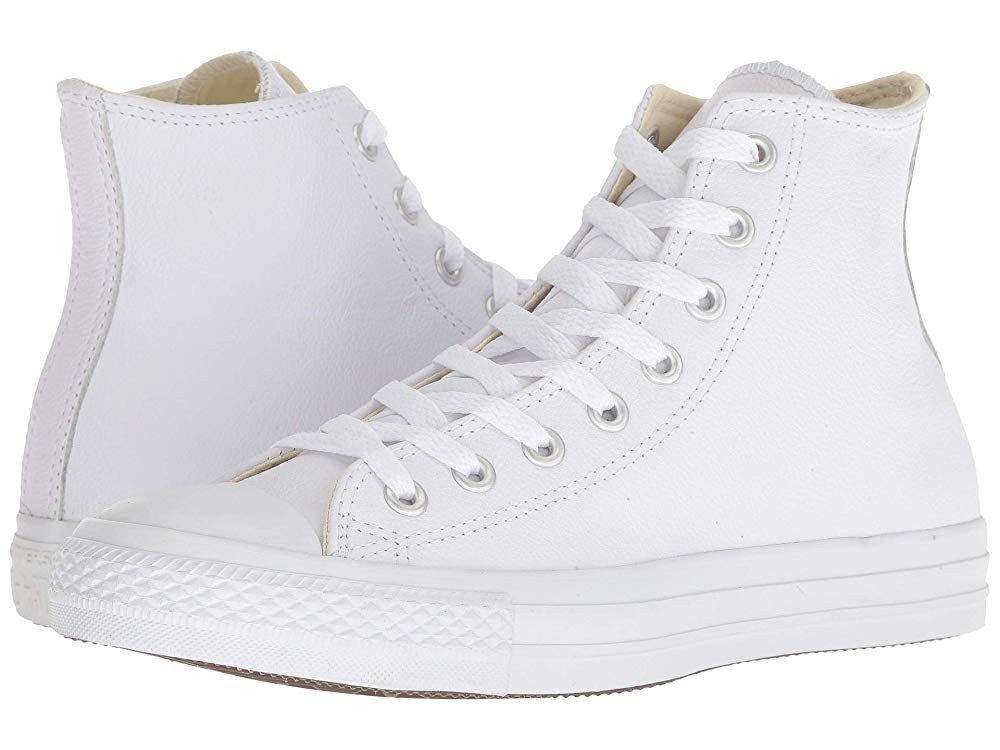 [ Hot Deals ] Converse Chuck Taylor® All Star® Leather Hi White Monochrome