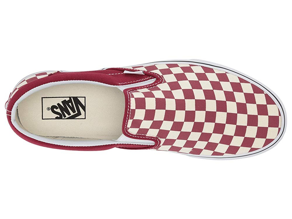 [ Hot Deals ] Vans Classic Slip-On™ (Checkerboard) Rumba Red/True White