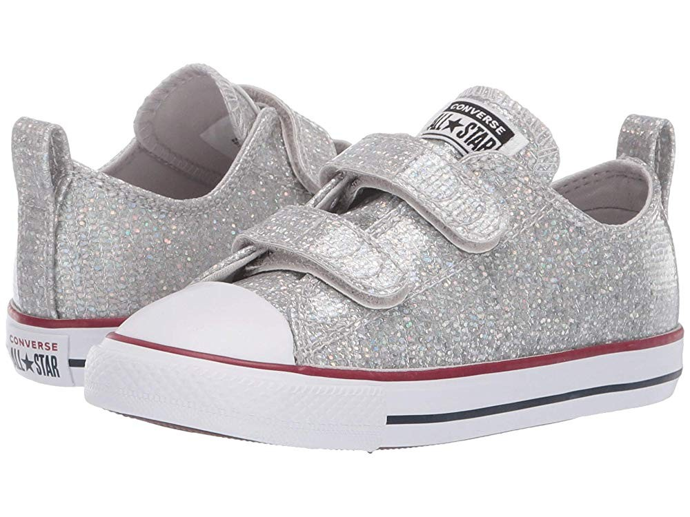 [ Hot Deals ] Converse Kids Chuck Taylor All Star 2V Sparkle - Ox (Infant/Toddler) Mouse/Enamel Red/White