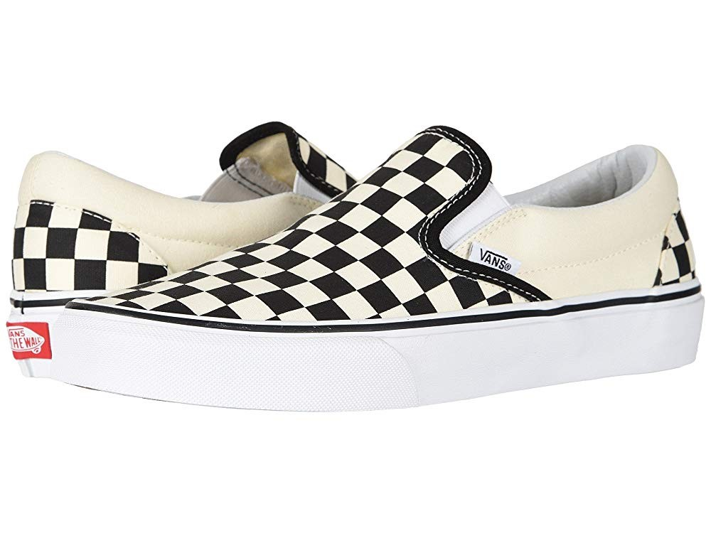 [ Black Friday 2019 ] Vans Classic Slip-On™ Core Classics Black and White Checker/White (Canvas)