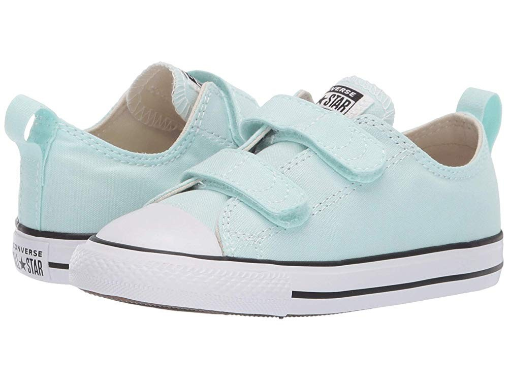 [ Hot Deals ] Converse Kids Chuck Taylor® All Star® 2V Seasonal Ox (Infant/Toddler) Teal Tin/Natural Ivory/White
