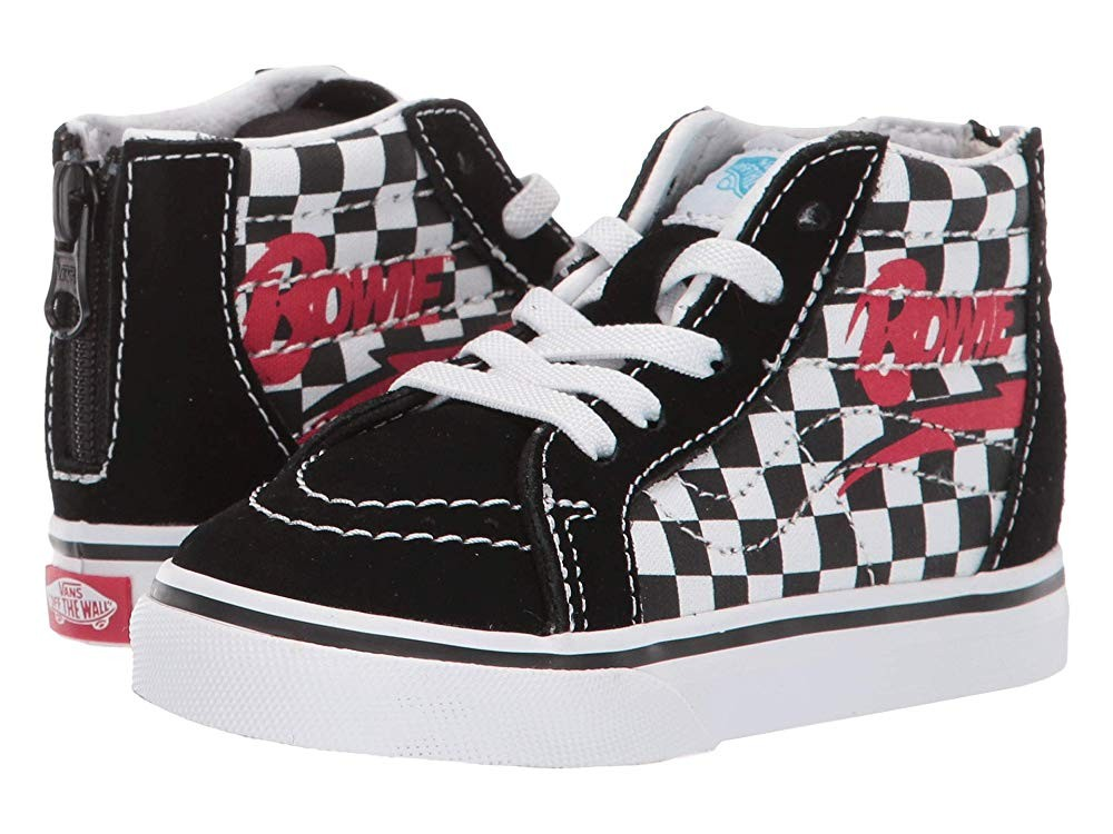 Vans Kids Vans x David Bowie Sneaker Collab (Infant/Toddler) (Sk8-Hi Zip) Bowie/Checkerboard Black Friday Sale