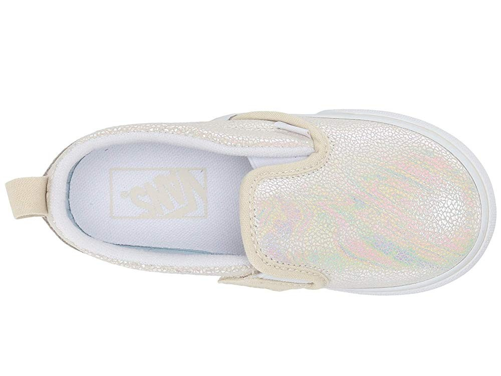 Vans Kids Slip-On V (Toddler) (Metallic Oil Slick) True White/Turtledove Black Friday Sale