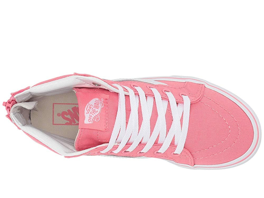 Vans Kids Sk8-Hi Zip (Little Kid/Big Kid) (Heart Eyelet) Strawberry Pink/True White Black Friday Sale