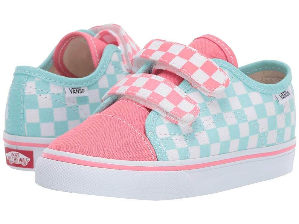 [ Hot Deals ] Vans Kids Style 23 V (Toddler) (Checkerboard) Blue Tint/Strawberry Pink