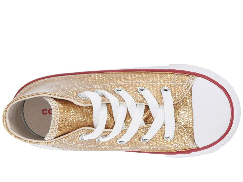 Christmas Deals 2019 - Converse Kids Chuck Taylor All Star Sparkle - Hi (Infant/Toddler) Gold/Enamel Red/White