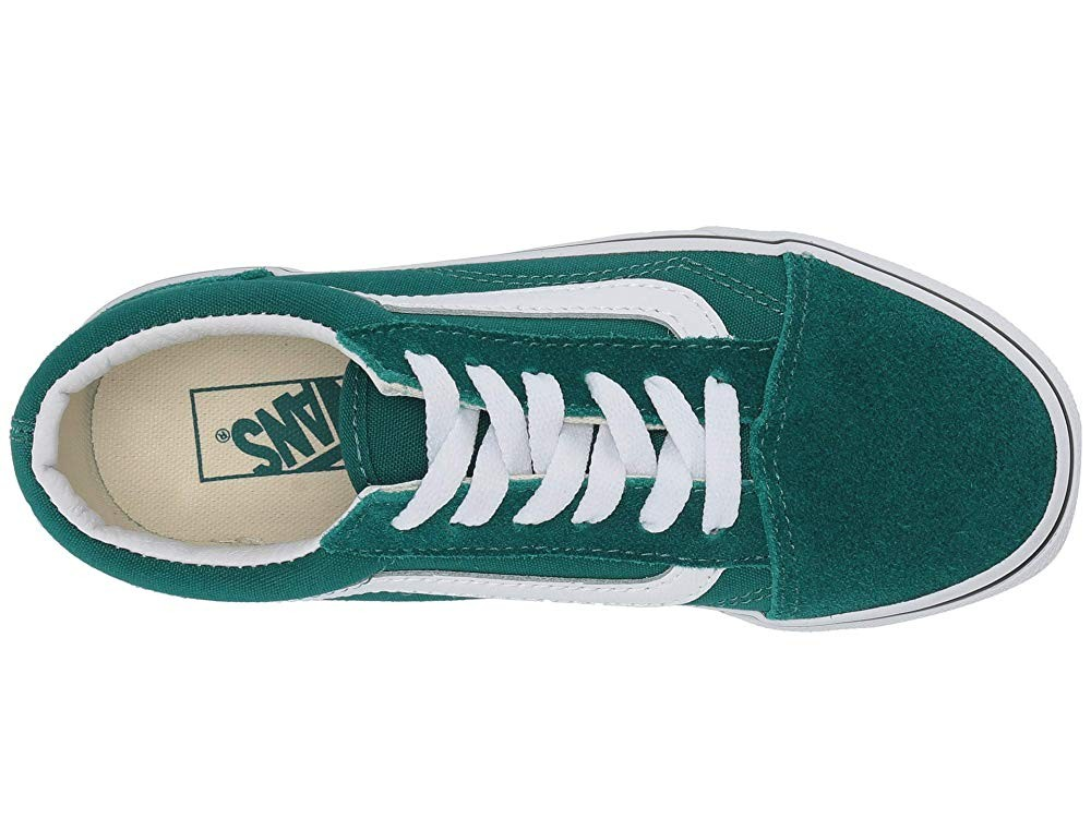 Christmas Deals 2019 - Vans Kids Old Skool (Little Kid/Big Kid) Quetzal Green/True White