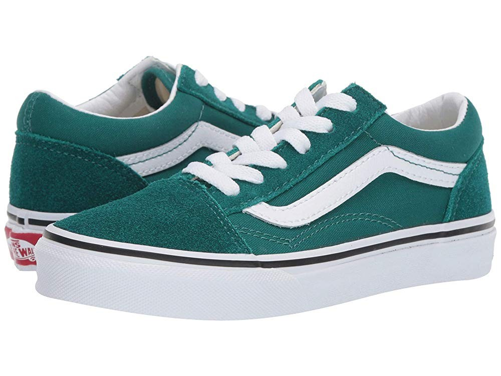 [ Hot Deals ] Vans Kids Old Skool (Little Kid/Big Kid) Quetzal Green/True White