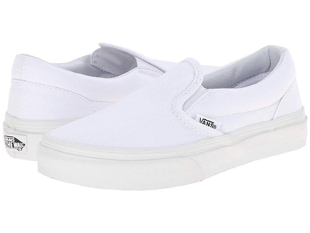 [ Hot Deals ] Vans Kids Classic Slip-On (Little Kid/Big Kid) True White