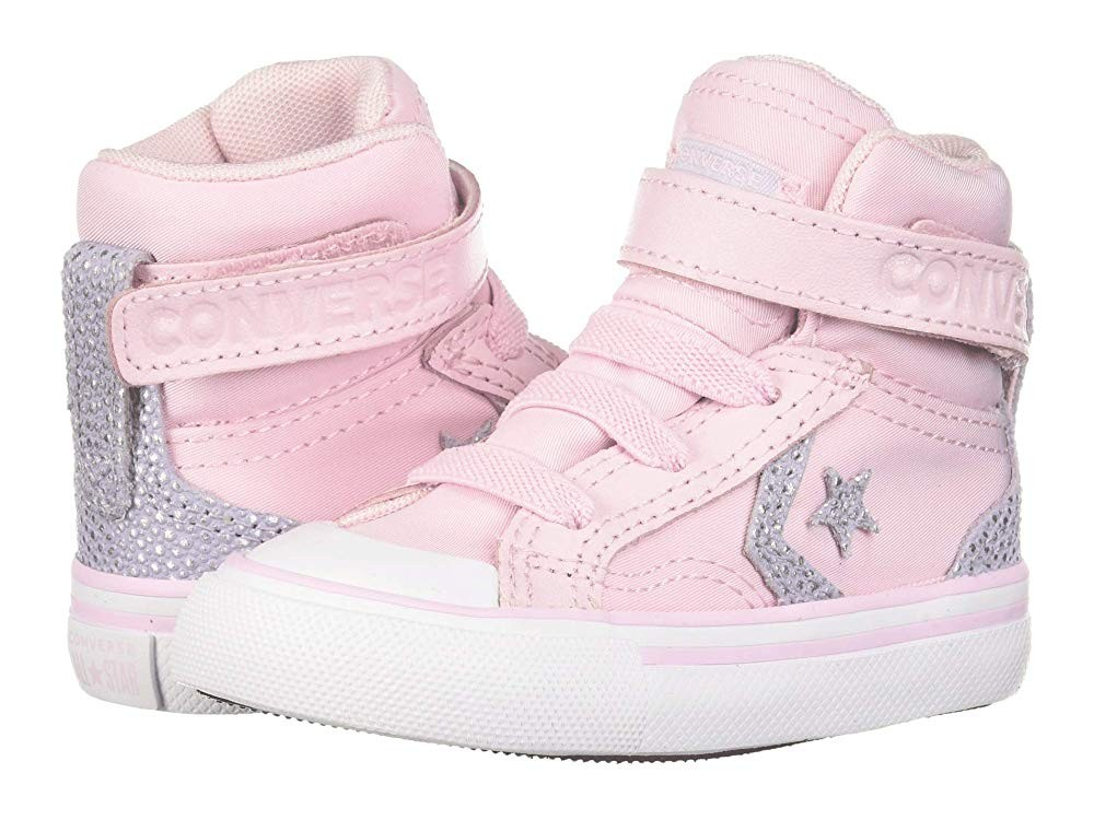 [ Hot Deals ] Converse Kids Pro Blaze Strap Hi (Infant/Toddler) Pink Foam/Oxygen Purple/White