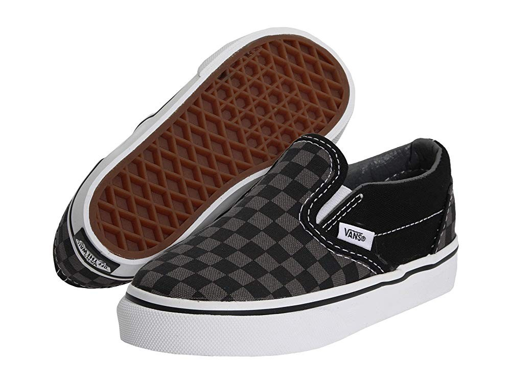 Vans Kids Classic Slip-On Core (Toddler) (Checkerboard) Black/Pewter
