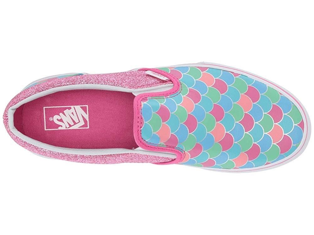 [ Hot Deals ] Vans Kids Classic Slip-On (Little Kid/Big Kid) (Mermaid Scales) Carmine Rose/True White