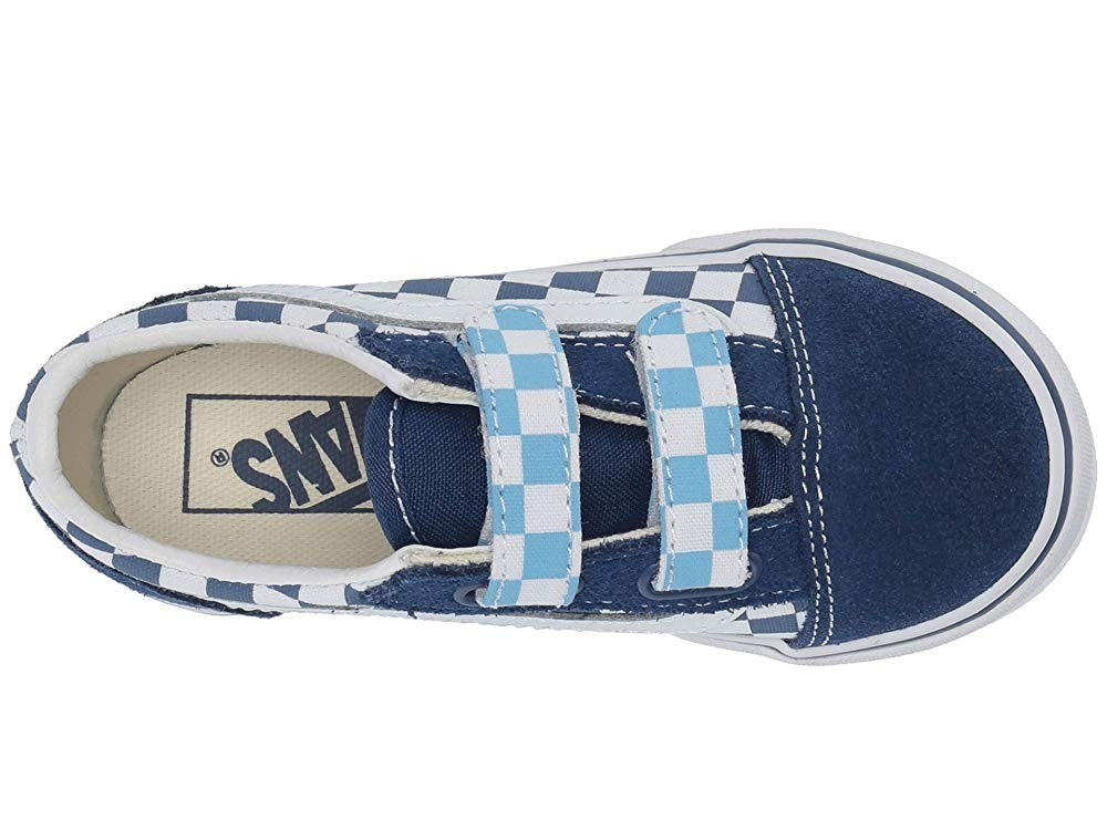 Buy Vans Kids Old Skool V (Toddler) (Checkerboard) True Navy/Bonnie Blue