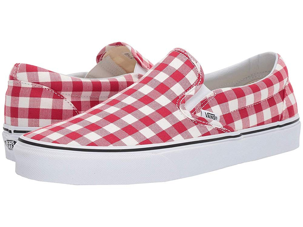 [ Hot Deals ] Vans Classic Slip-On™ (Gingham) Racing Red/True White