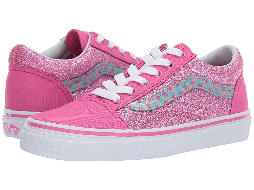 Vans Kids Old Skool (Little Kid/Big Kid) (Mermaid Scales) Carmine Rose/True White