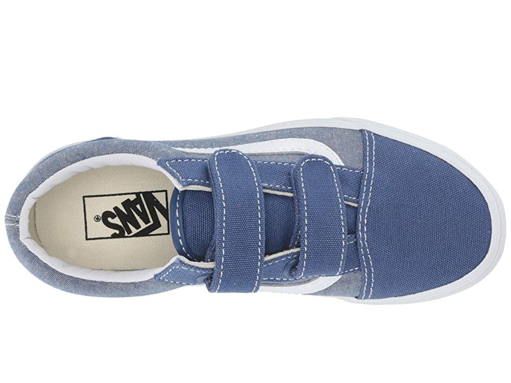 [ Hot Deals ] Vans Kids Old Skool V (Little Kid/Big Kid) (Chambray) Canvas True Navy/True White