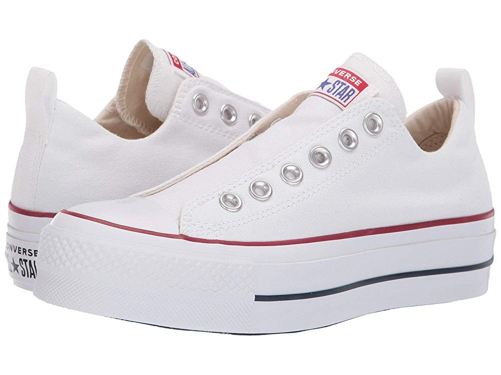 [ Hot Deals ] Converse Chuck Taylor® All Star® Lift Slip Ox White/Red/Blue