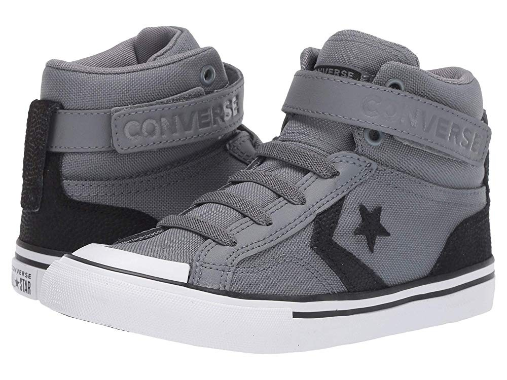 Christmas Deals 2019 - Converse Kids Pro Blaze Strap Back Court Leather - Hi (Little Kid/Big Kid) Cool Grey/Black/White
