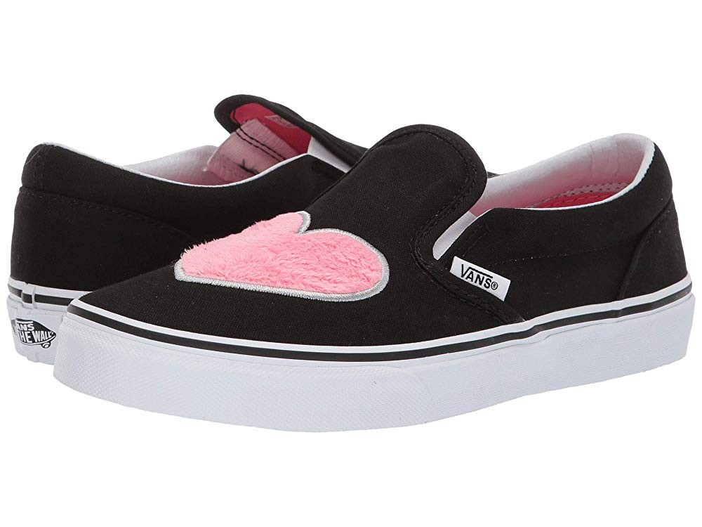 [ Hot Deals ] Vans Kids Classic Slip-On (Little Kid/Big Kid) (Fur Heart) Strawberry Pink/Black