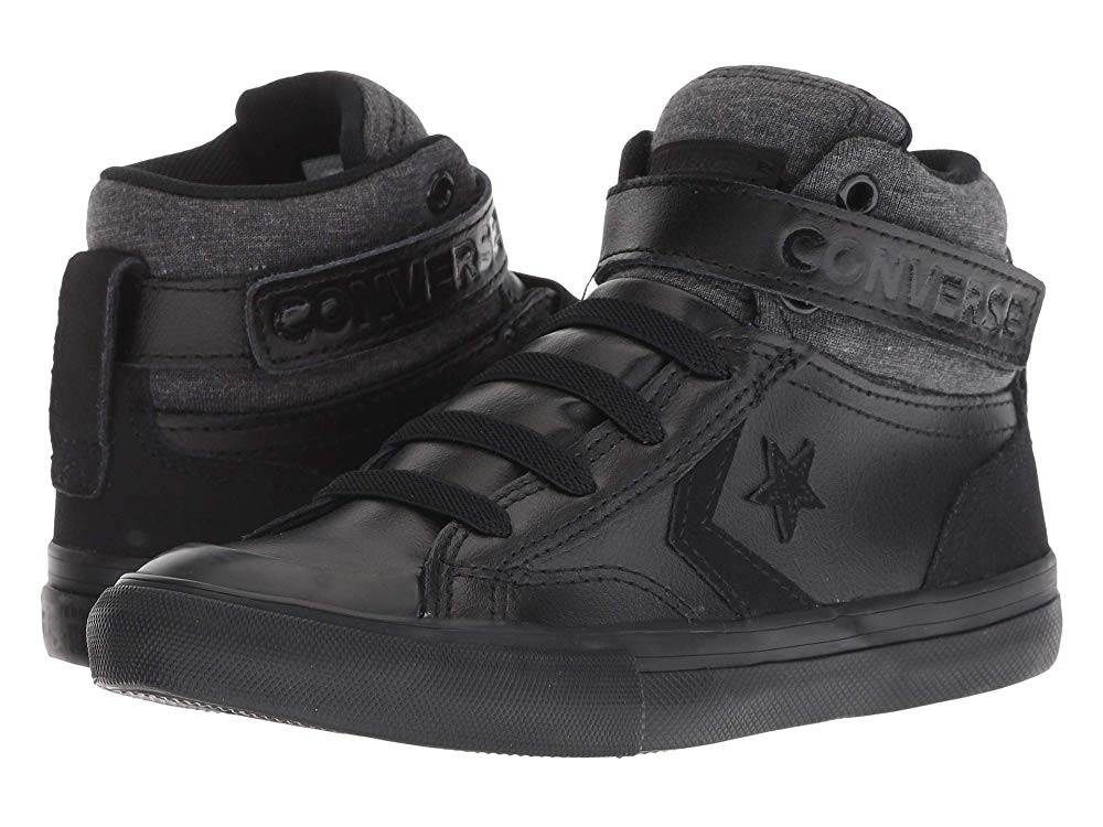 [ Hot Deals ] Converse Kids Pro Blaze Strap - Hi (Little Kid/Big Kid) Black/Black/Black