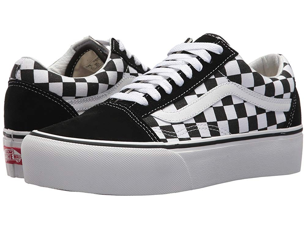Vans Old Skool Platform (Checkerboard) Black/True White Black Friday Sale
