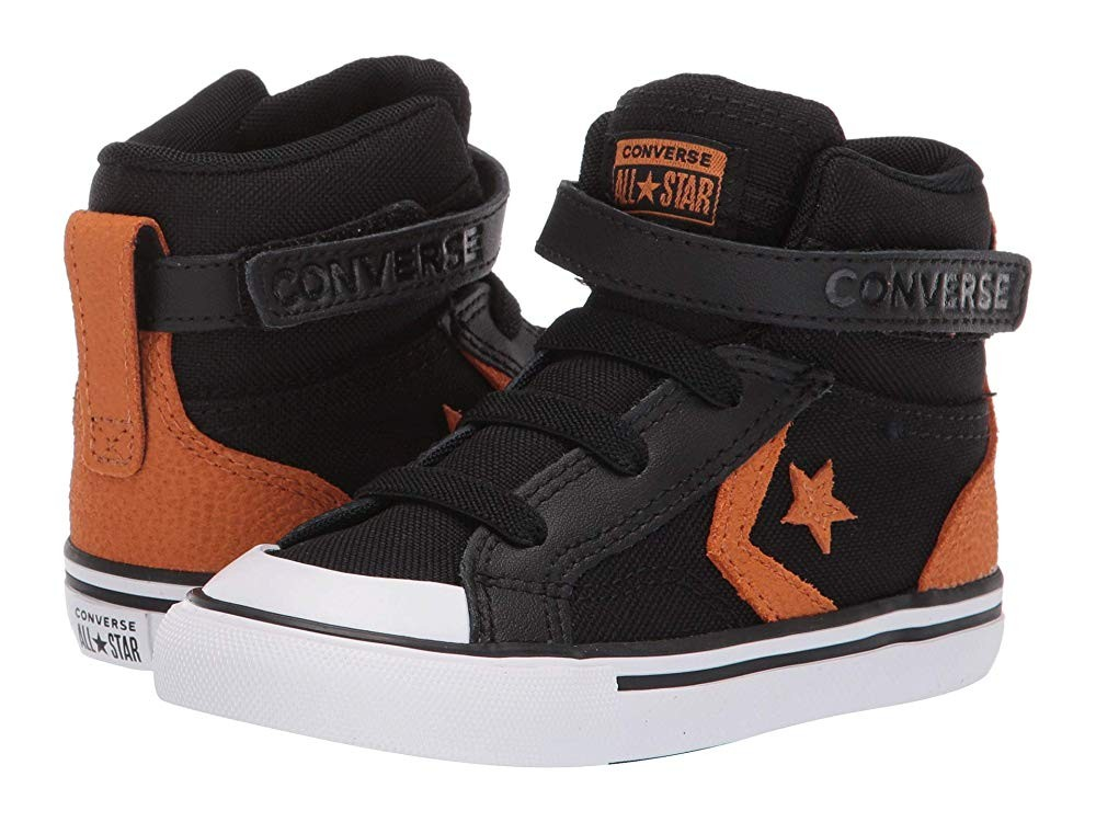 [ Hot Deals ] Converse Kids Pro Blaze Strap Back Court Leather - Hi (Infant/Toddler) Black/Monarch/White