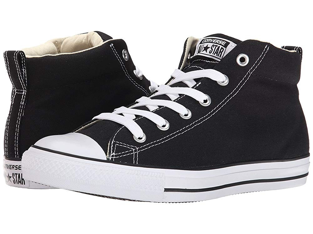[ Hot Deals ] Converse Chuck Taylor® All Star® Street Core Canvas Mid Black/Natural/White