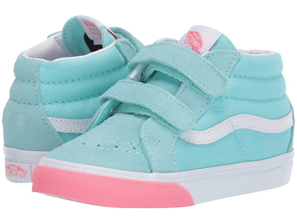 [ Hot Deals ] Vans Kids Sk8-Mid Reissue V (Toddler) (Color Block) Blue Tint/Strawberry Pink