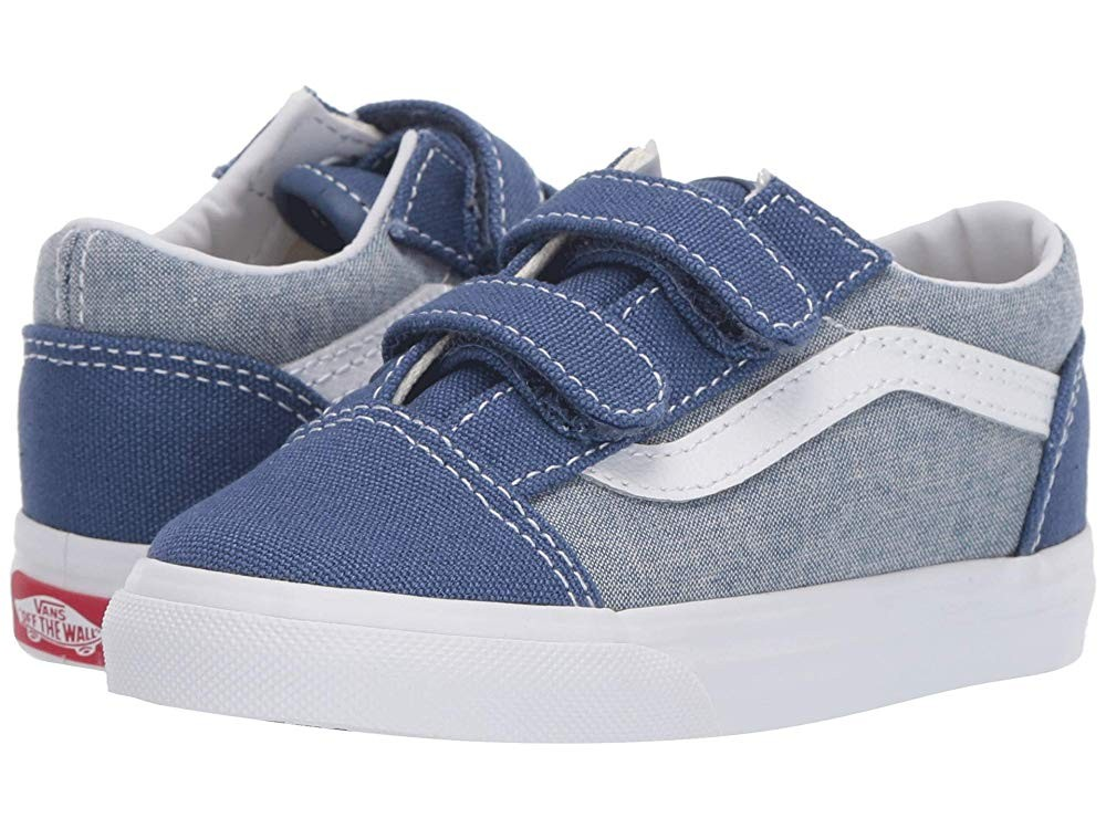 [ Hot Deals ] Vans Kids Old Skool V (Toddler) (Chambray) Canvas True Navy/True White