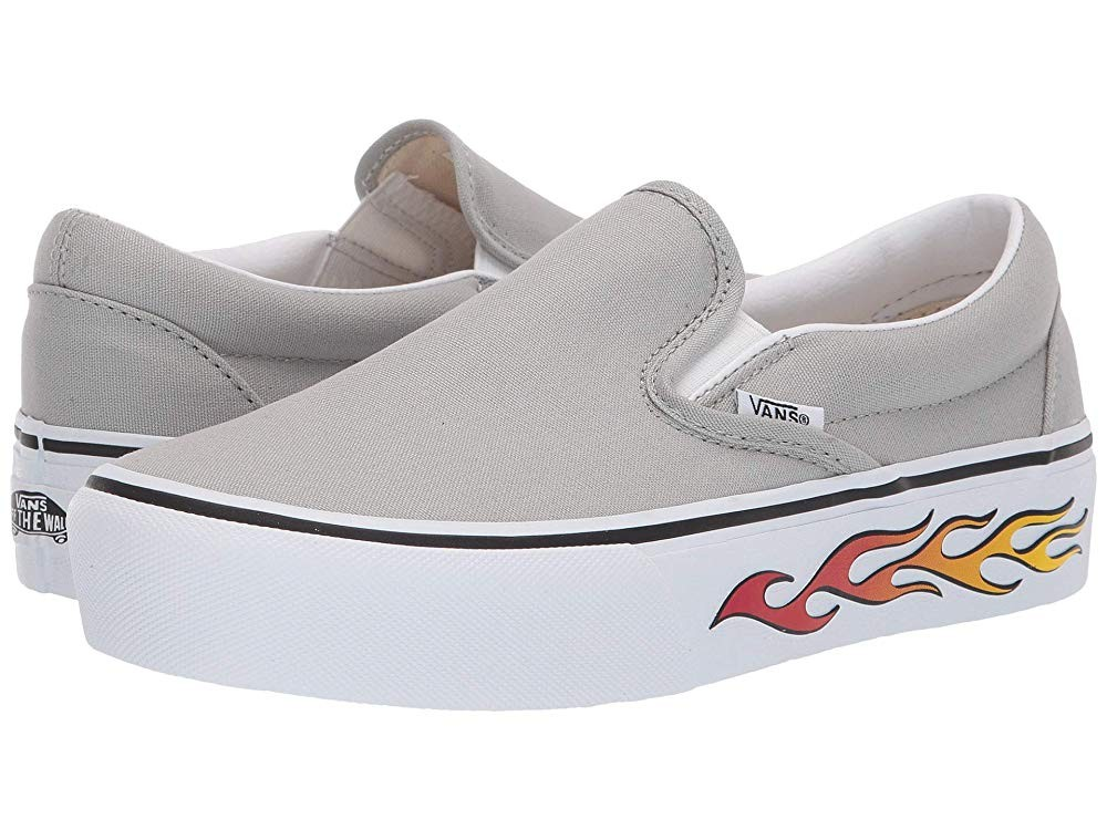 [ Hot Deals ] Vans Classic Slip-On Platform (Sidewall Flame) Belgian Block
