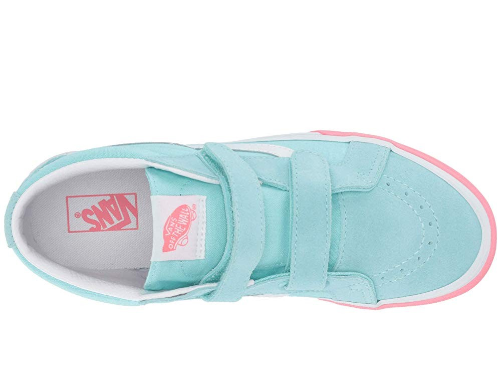 Buy Vans Kids SK8-Mid Reissue V (Little Kid/Big Kid) (Color Block) Blue Tint/Strawberry Pink