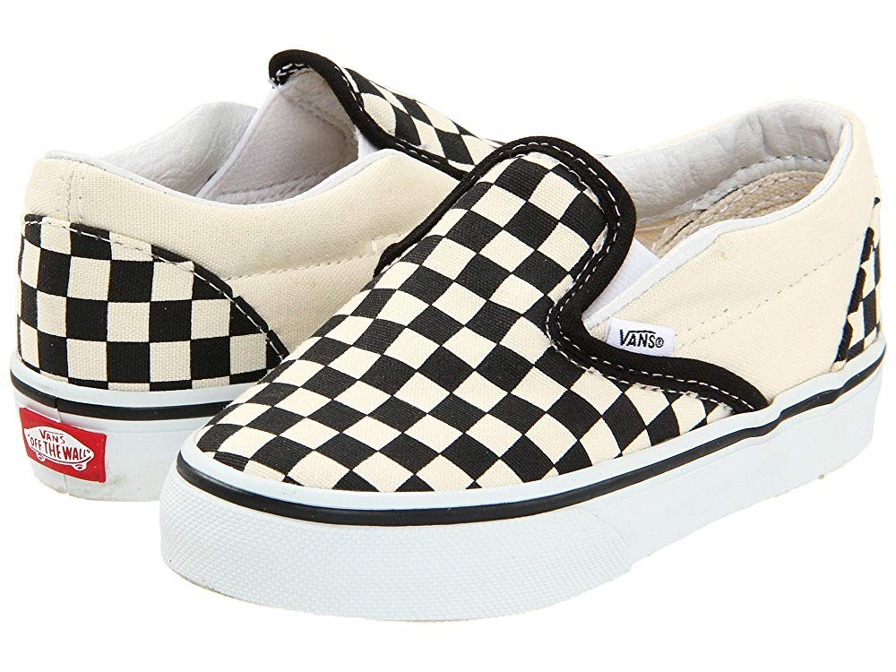 [ Hot Deals ] Vans Kids Classic Slip-On Core (Toddler) Black and White Checker/White
