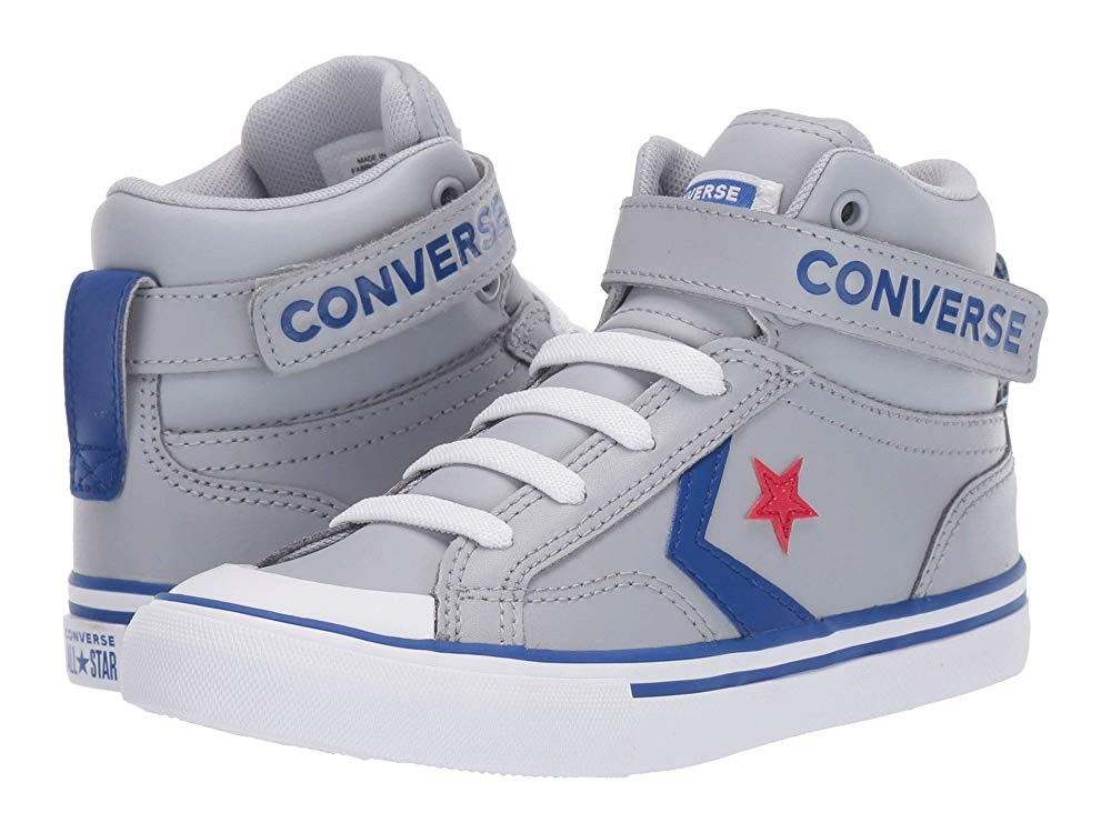 Hot Sale Converse Kids Pro Blaze Strap - Hi (Little Kid/Big Kid) Wolf Grey/Blue/Enamel Red
