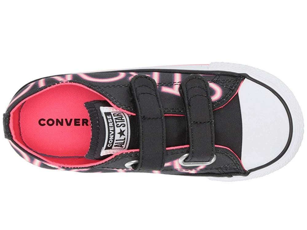 Black Friday Converse Kids Chuck Taylor All Star Pretty Strong 2V - Ox (Infant/Toddler) Black/Racer Pink/White Sale