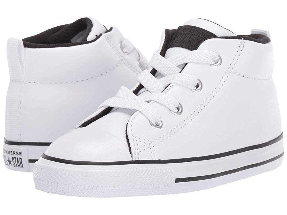 [ Black Friday 2019 ] Converse Kids Chuck Taylor All Star Street - Mid (Infant/Toddler) White/White/Black