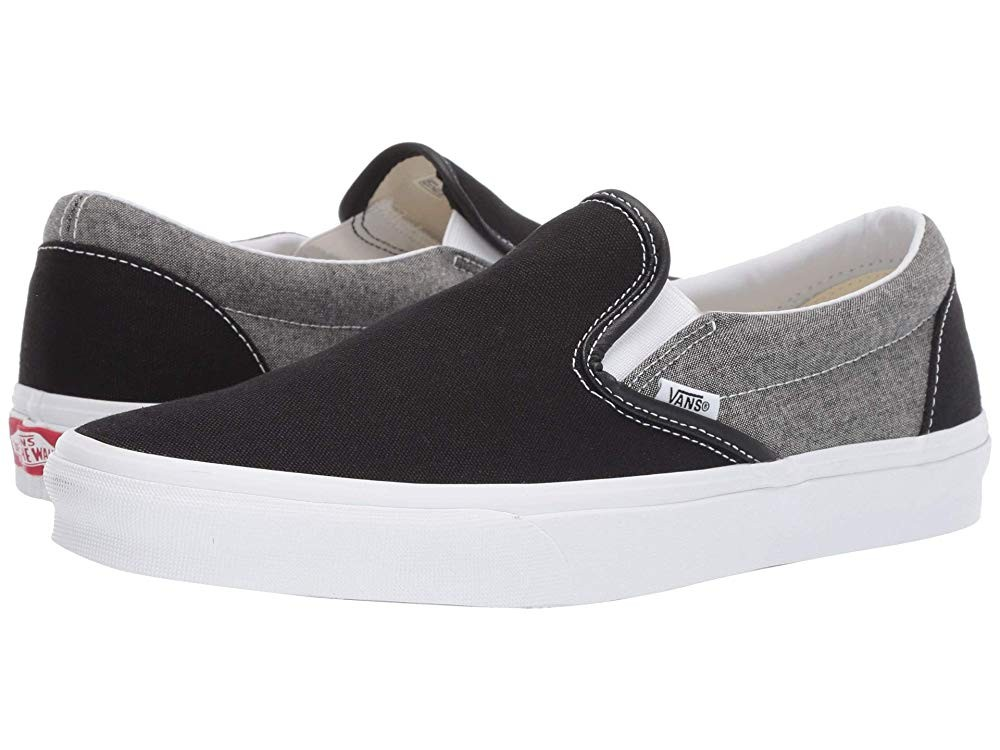 [ Hot Deals ] Vans Classic Slip-On™ (Chambray) Canvas Black/True White