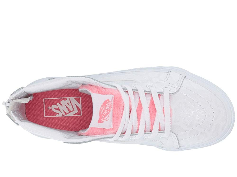 [ Hot Deals ] Vans Kids Sk8-Hi Zip (Little Kid/Big Kid) (White Giraffe) True White/Strawberry Pink