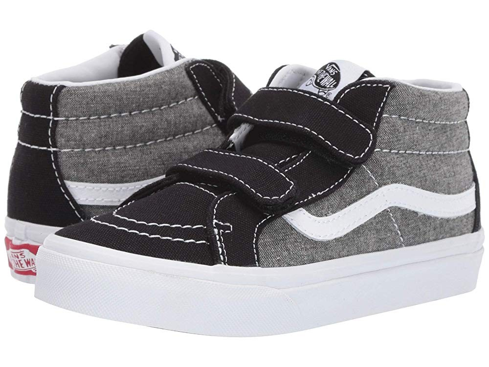[ Hot Deals ] Vans Kids SK8-Mid Reissue V (Little Kid/Big Kid) (Chambray) Canvas Black/True White