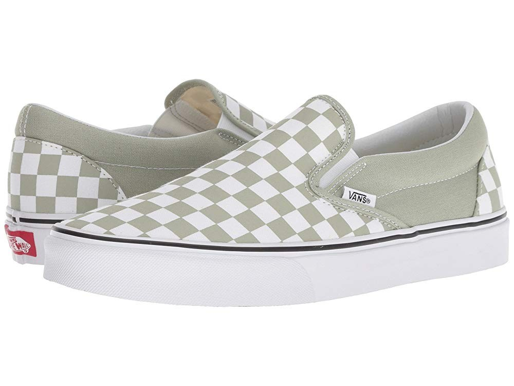 Christmas Deals 2019 - Vans Classic Slip-On™ (Checkerboard) Desert Sage/True White