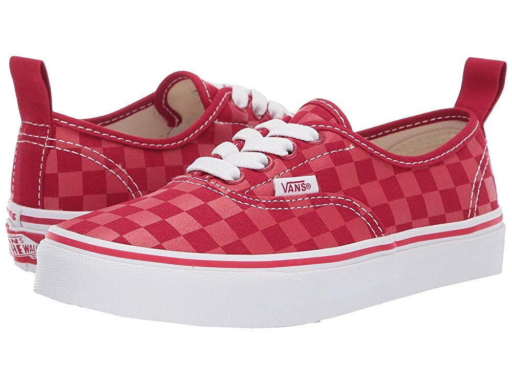 [ Hot Deals ] Vans Kids Authentic Elastic Lace (Little Kid/Big Kid) (Checkerboard) Tango Red