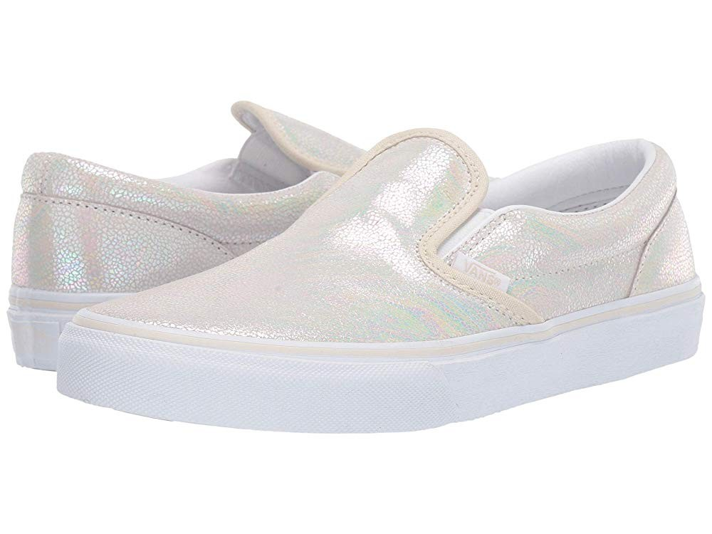 Buy Vans Kids Classic Slip-On (Little Kid/Big Kid) (Metallic Oil Slick) True White/Turtledove
