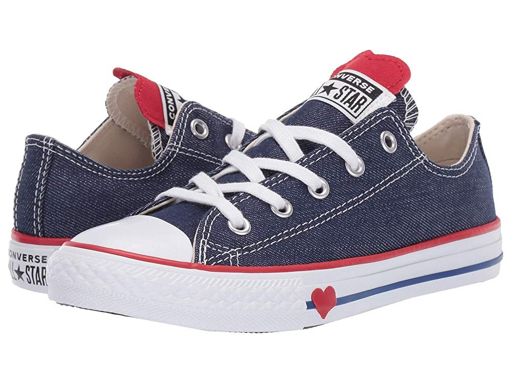 Black Friday Converse Kids Chuck Taylor All Star Denim Love - Ox (Little Kid) Navy/Enamel Red/Blue Sale