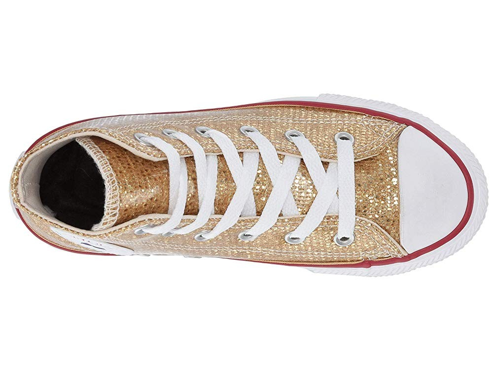 Black Friday Converse Kids Chuck Taylor All Star Sparkle - Hi (Little Kid/Big Kid) Gold/Enamel Red/White Sale