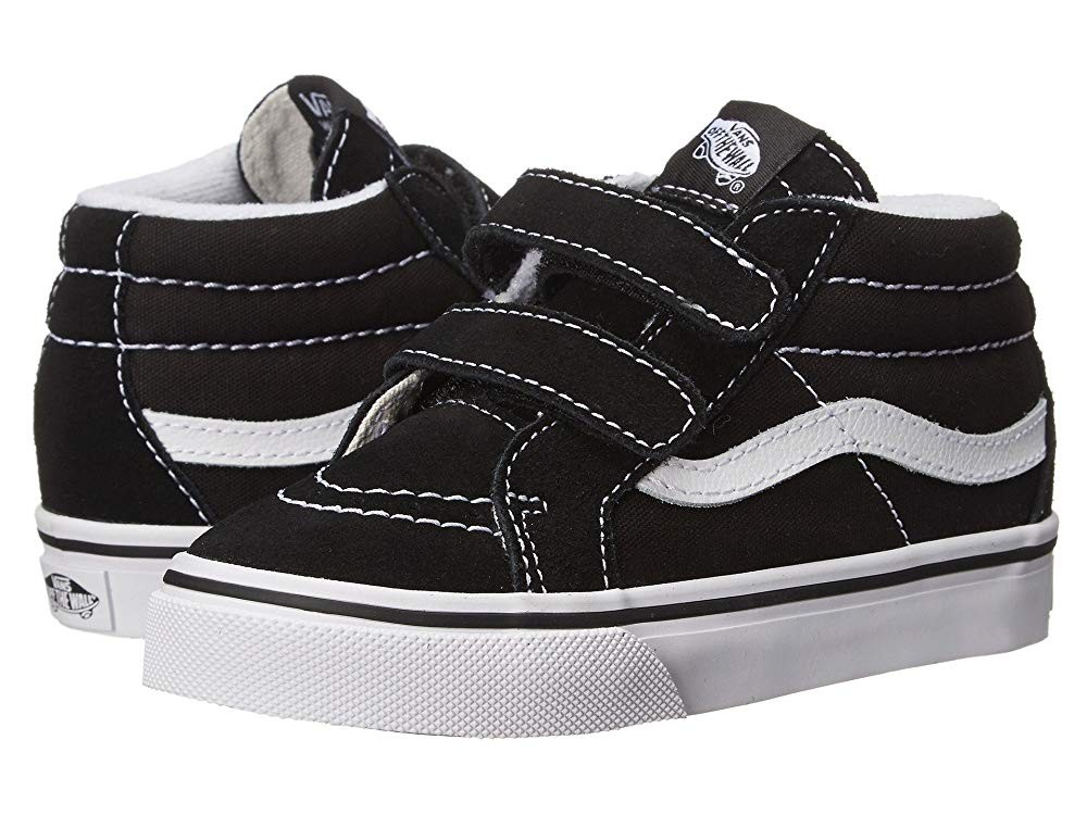Buy Vans Kids SK8 Mid Reissue V (Toddler) Black/True White