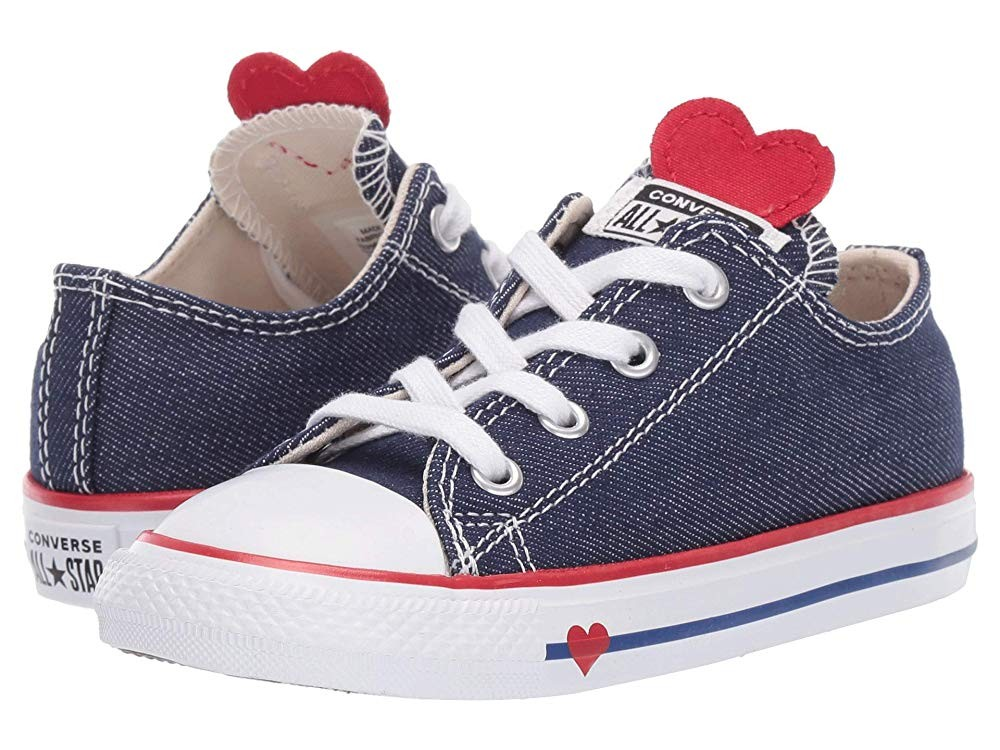 [ Hot Deals ] Converse Kids Chuck Taylor All Star Denim Love - Ox (Infant/Toddler) Navy/Enamel Red/Blue