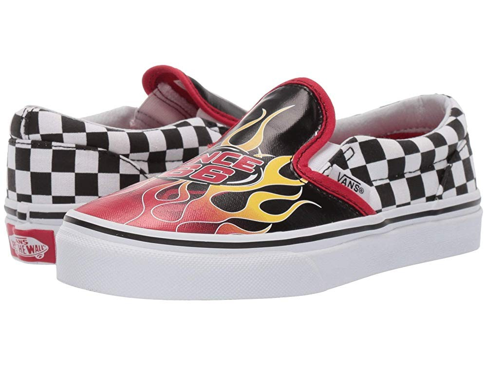 Buy Vans Kids Classic Slip-On (Little Kid/Big Kid) (Race Flame) Black/Racing Red/True White