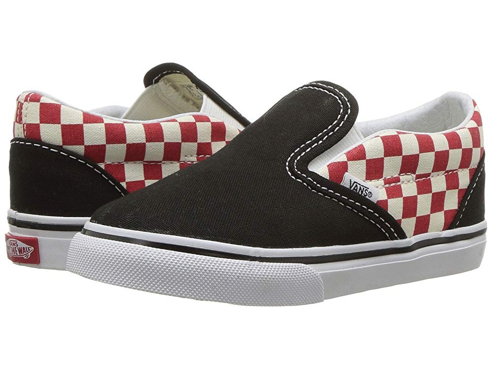 Buy Vans Kids Classic Slip-On (Toddler) (Checkerboard) Black/Red