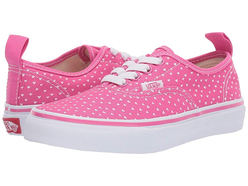 Vans Kids Authentic Elastic Lace (Little Kid/Big Kid) (Hand Drawn Hearts) Carmine Rose/True White