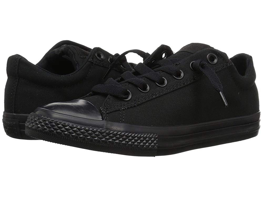 Hot Sale Converse Kids Chuck Taylor® All Star® Street Ox (Little Kid/Big Kid) Black Mono