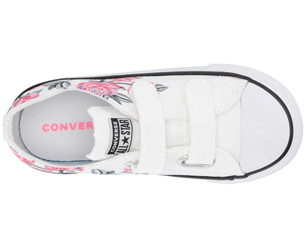 [ Hot Deals ] Converse Kids Chuck Taylor All Star Pretty Strong 2V - Ox (Infant/Toddler) White/Racer Pink/Black